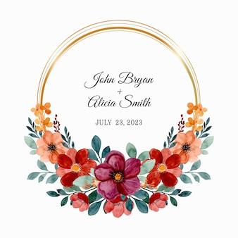 날짜를 저장하십시오. 수채화와 부르고뉴와 갈색 꽃 화환