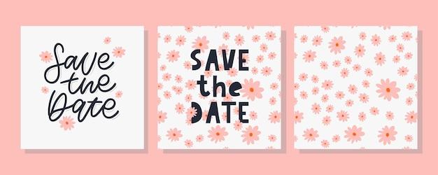 Сохраните дату карты и набор цветочных узоров