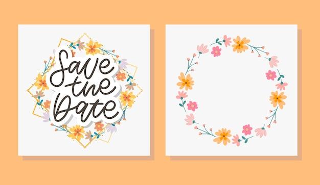 Сохраните дату карты и набор цветочных венков