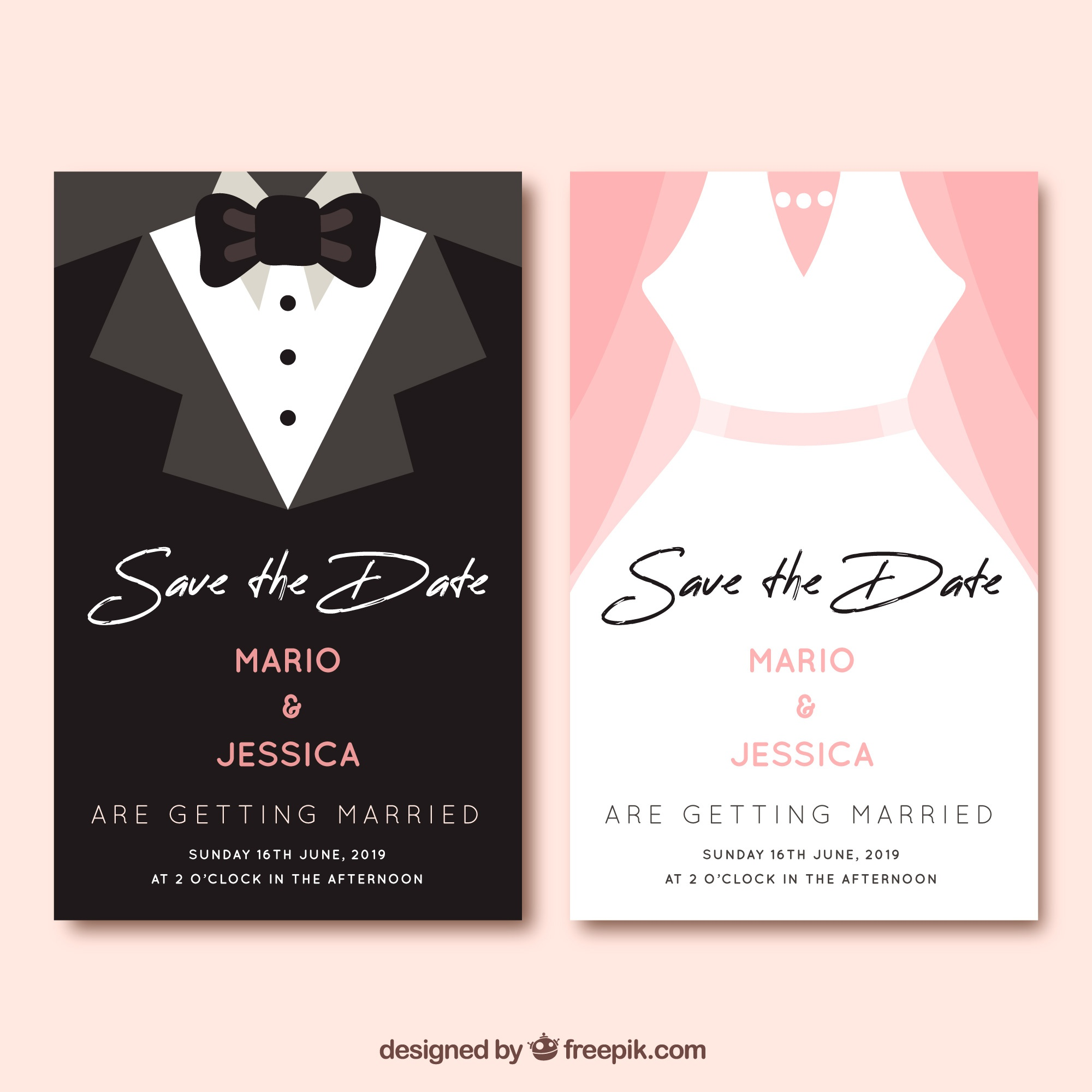 Save the date card in flat style