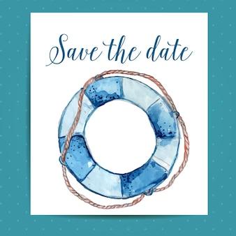 救命浮き輪付きの航海結婚式の日付カードのレイアウトを保存します。水彩アートとベクトルテンプレート。