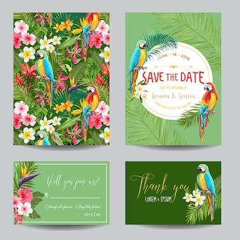 Сохраните набор карточек с датами. приглашение на свадьбу с тропическими цветами и попугаями