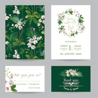 日付カードセットを保存します。熱帯の蘭の花と葉の結婚式の招待状。ベクター