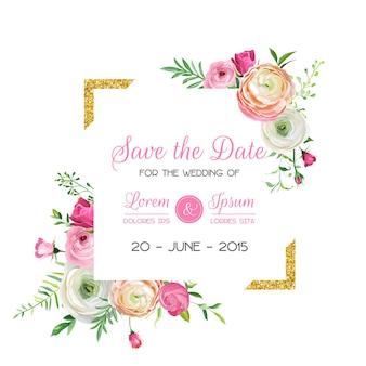 골든 글리터 프레임과 핑크 꽃으로 날짜 카드 템플릿을 저장합니다. 청첩장, 꽃 장식으로 인사말입니다. 벡터 일러스트 레이 션