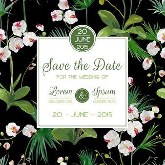 日付カードを保存します。熱帯の蘭の花と葉の結婚式の招待状。ベクター