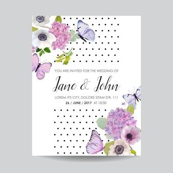 日付カードの結婚式の招待状のテンプレートを保存します。あじさいの花と蝶の植物カード。グリーティングフローラルポストカード
