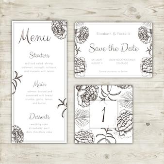日付カードの結婚式のメニューとテーブル番号のデザインを保存する
