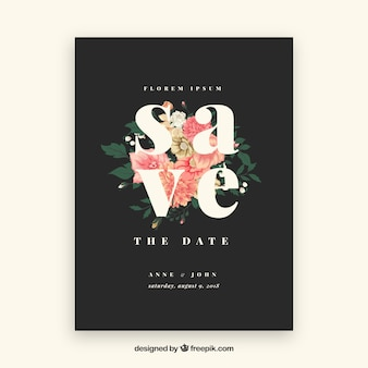 Save the date card with beautiful flowers