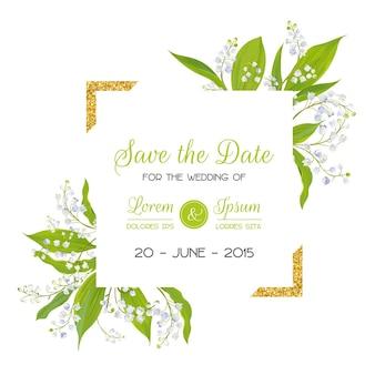 ブロッサムリリーバレーの花とゴールデンフレームで日付カードを保存します。結婚式の招待状、記念日パーティー、rsvp花のテンプレート。ベクトルイラスト