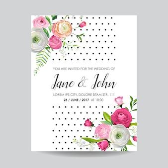 Сохраните дату карты с цветущими розовыми цветами и лилией. приглашение на свадьбу, юбилей, украшение, цветочный шаблон rsvp. векторная иллюстрация