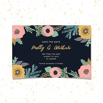 Save the date card with cute floral frame and dark background