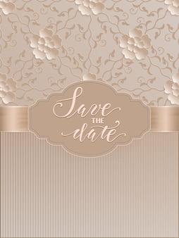 Сохраните дату карты с элегантным орнаментом