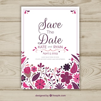 Save the date card with floral ornaments
