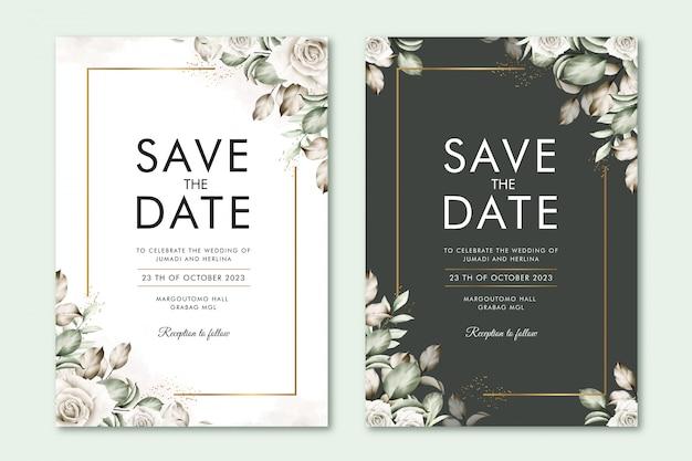 꽃 수채화로 날짜 카드를 저장하십시오.