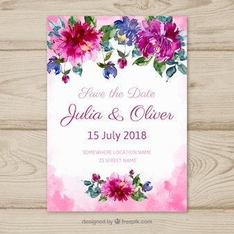 Save the date card with flowers in watercolor style