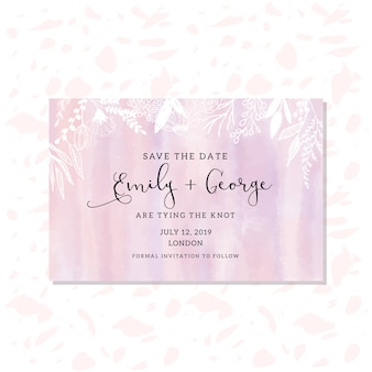 Save the date card with hand drawn floral