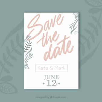 Save the date card with plants