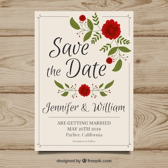 Save the date card with red flowers