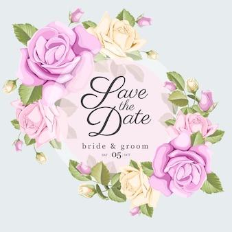 Сохранить дату карты с букетом роз и листьев