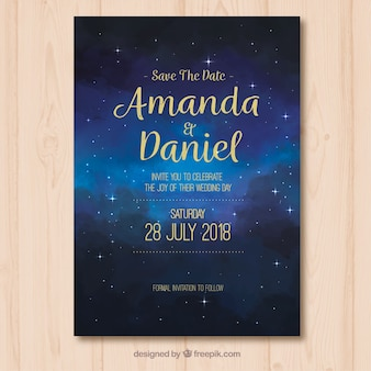 Save the date card with starry sky