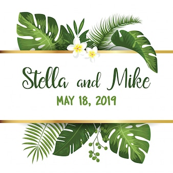 Save the date card with tropical exotic leafs and flowers