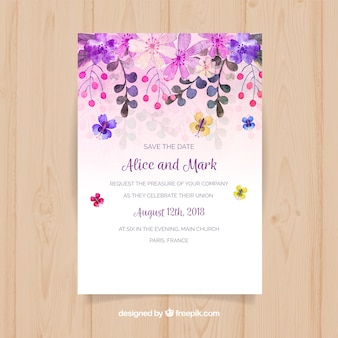 Save the date card with watercolor flowers