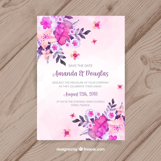 Free Save the date card with watercolor flowers SVG DXF EPS