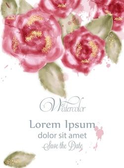 水彩のピンクのバラと日付カードを保存する