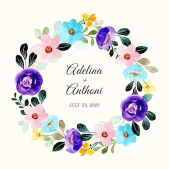日付を保存。カラフルな水彩花の花輪