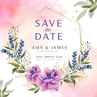 日付の花の水彩画の招待状を保存します