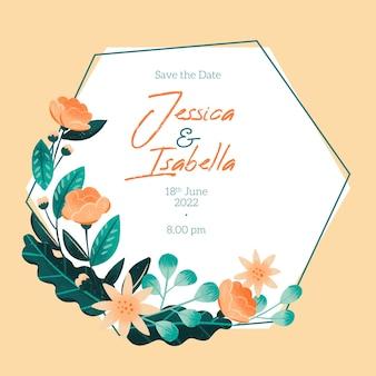 手描きの花で日付フレームの招待状を保存します。