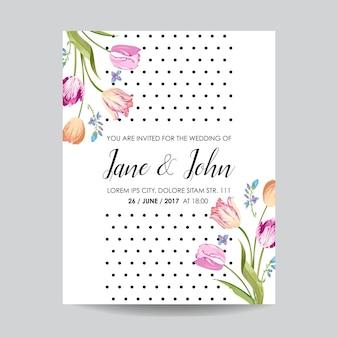 花のチューリップの花で日付グリーティングカードを保存します