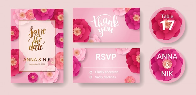 핑크색 꽃으로 날짜 핸드 레터링 엽서를 저장하십시오. rsvp 카드 템플릿 감사합니다.