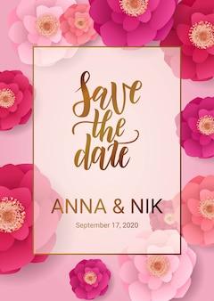 분홍색 꽃으로 날짜 핸드 레터링 엽서를 저장하십시오. 결혼식 문구. 삽화. 붓글씨. 현대적인 장식 레이아웃
