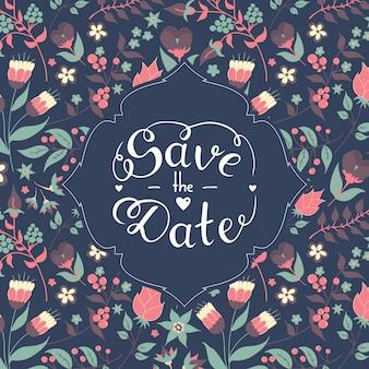 Сохраните дату с красивым цветочным узором