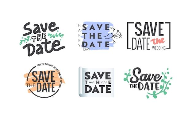 タイポグラフィまたはレタリングと白い背景で隔離の装飾的な要素で設定された日付アイコンまたはバナーを保存します。ウェディングカード、招待状、記念イベントのデザイン。ベクトルイラスト