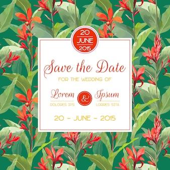 結婚式、ベビーシャワーのために、日付、招待状、お祝いカードを保存します。熱帯の花と葉