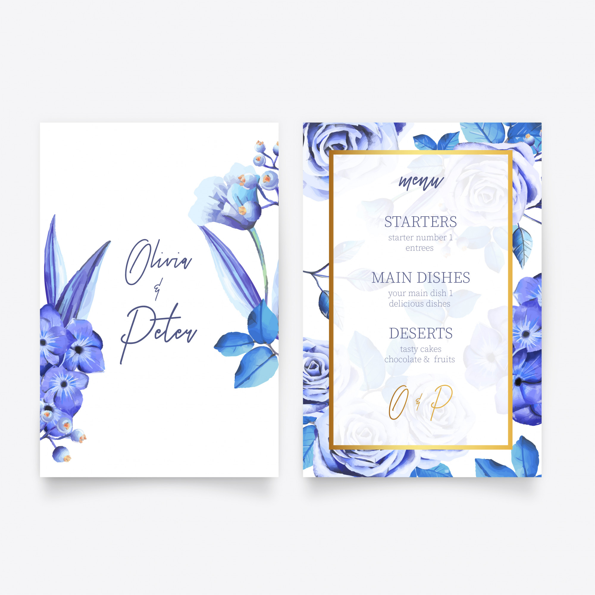 Save the Date Invitation & Menu Template