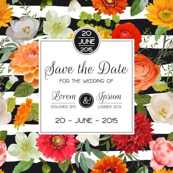 花のテンプレートで日付の招待状を保存する