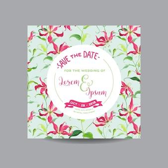 Сохраните приглашение на свидание с цветочным шаблоном