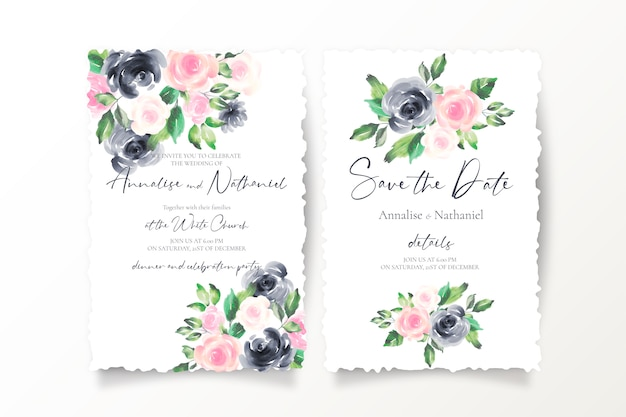 분홍색과 검은 색 꽃으로 날짜 초대장을 저장하십시오.