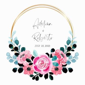 Сохраните дату. розовый цветочный акварельный венок с золотой рамкой