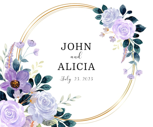 日付を保存する金色の円で紫緑色の花の水彩画