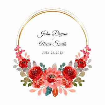 日付を保存。ゴールドフレームの赤いバラの花輪