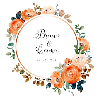 水彩で日付のバラの花の花輪を保存します