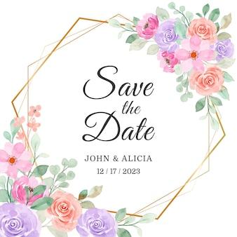 日付を保存。金色のフレームと柔らかいピンク紫の花の水彩画
