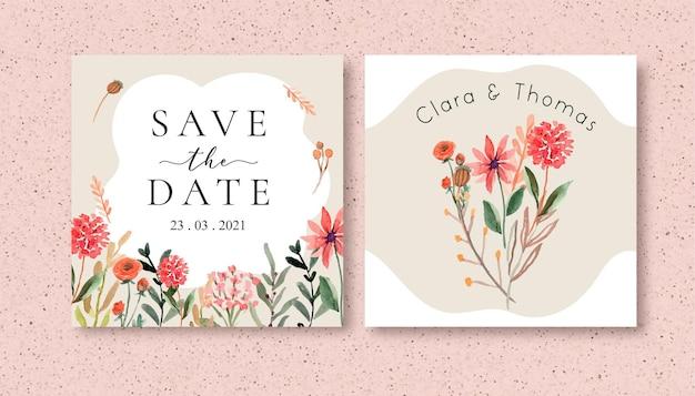 Сохраните квадратный фон даты с акварельными полевыми цветами