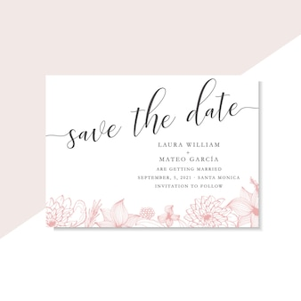 Save the date template with line art pink flowers and leaves