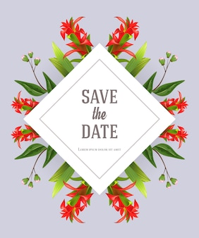 Save the date template with red gladiolus on gray background. Handwritten text, calligraphy.
