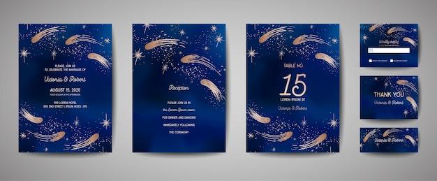 Сохраните дату векторные иллюстрации с ночным звездным небом, звездой свадьбы небесной в векторе